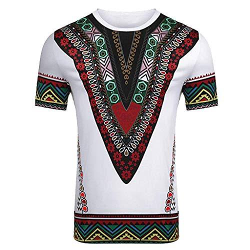 Pandaie Mens Blouse Shirts Men's Fashion African Printed T Shirt Short Sleeve Casual Shirt Top Blouse White ()