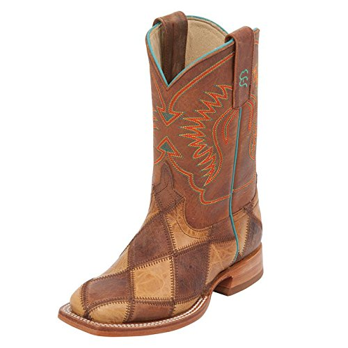 (Anderson Bean Boys Kid s Crazy Train Patchwork Cowboy Boots 2 Crazy Train Honey Crazyhorse )