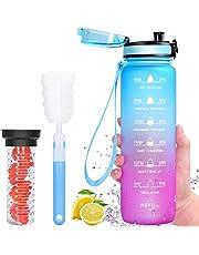 Favofit Waterfles met tijdmarkeringen, premium 1 liter sportwaterfles met fruitzuiger voor jongens en meisjes, heren en dames, herbruikbaar & BPA-vrij, 1 klik open, met reinigingsborstel