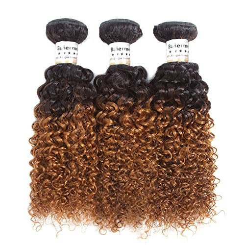 (Baiermei 8A Jerry Curl Human Hair Bundles Ombre Brown Kinky Curly Hair 3 Bundle Two Tone 1B/30# Hair Extensions (12 14 16) )