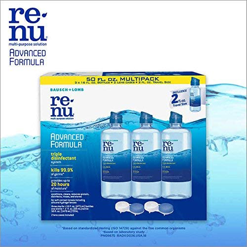 Renu – Lens Solution, Advanced Triple Disinfect Formula, Multi-Purpose 16 Fluid Ounce (Pack of 3) w/(1) 2 Ounce Travel Bottle + 2 Contact Lens Cases