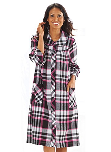 Flannel Duster (AmeriMark Women's Plaid Flannel Duster 2X (20W-22W) / Black)