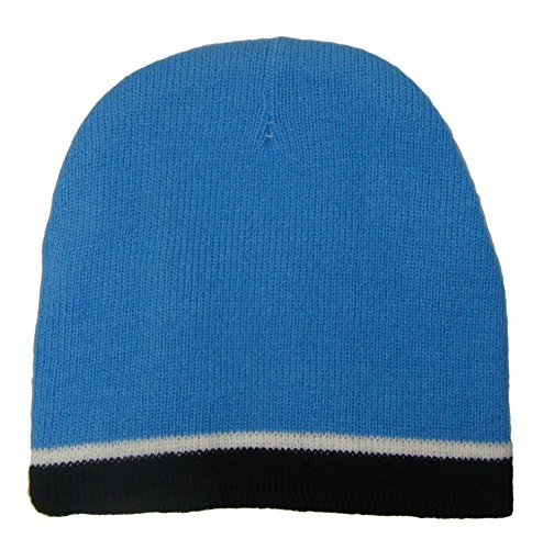Beanie New Skate - THS Infant Size Knit Beanie Ski Cap (One Size, Sky/Navy Stripe)