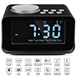 Keright Digital Alarm Clock Radio with Bluetooth Speaker, USB Charging, Snooze, AUX TF Card Play, FM Radio, Thermometer, Large Mirror LCD Dimmable Display for Bedside Bedroom Desktop Home Office