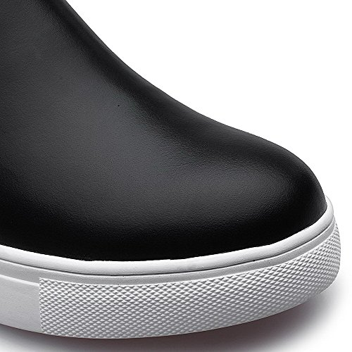 Amoonyfashion Ronde Neusluide Dames Met Dichte Neus En Lage Hakken Laarzen Met Metalen Ornament En Zwarte Ritsen