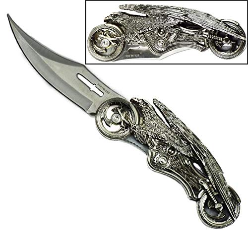 Eagle Feather Knife - Day Zero Survival Eagle Motorcycle Folding Pocket Knife Collectible Stainless Steel Blade