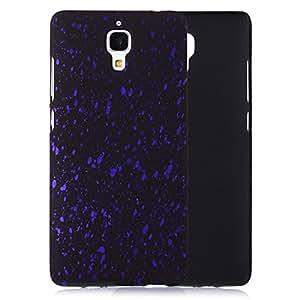 tinxi® Funda de Plastico Caso duro de goma para Xiaomi Mi4 Mi4 M4 Caso de la cubierta de la contraportada de fondo negro y puntos morados