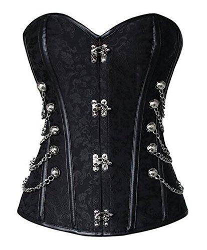 [Women's Steampunk Retro Steel Boned Corset Waist Cincher Bustier Shapewear Top X-Large Black] (Steampunk Corset Dress)