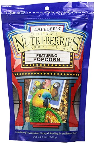 Lafeber's Popcorn Nutri-Berries for Parrots 4 oz (Healthy Edibles Peanut Flavor)