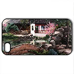 House by the Pond - Case Cover for iPhone 4 and 4s (Houses Series, Watercolor style, Black)