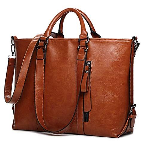 IYGO Leather Tote Bag for Women, Leather Top-Handle Shoulder HandBag Tote Bag Waterproof Crossbody Bag (Brown)
