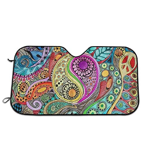 Tumblr Static The Color of Drums in The Wind Singleton Hippie Art Car Windshield Sun Shade Car Sunshade-Keep Your Vehicle Cool. UV Sun and Heat Reflector (Art Shades In)