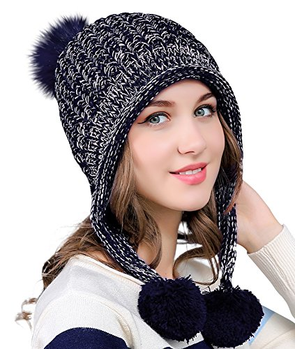Coco Flap - Urban CoCo Women's Winter Cable Knitted Pom Pom Beanie Hat Earflap Caps (Navy Blue)