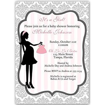 Amazon baby shower invitations girl damask gray pink grey baby shower invitations girl damask gray pink grey french filmwisefo