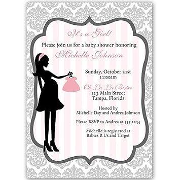Amazon Com Baby Shower Invitations Girl Damask Gray Pink Grey