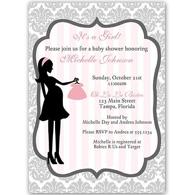 Baby Shower Invitations, Girl, Damask, Gray, Pink, Grey, French, Paris, Parisian, Bebe, Modern, Simple, Shabby Chic, Personalized, Customized, 10 Printed Invites and Envelopes, Damask Baby Shower