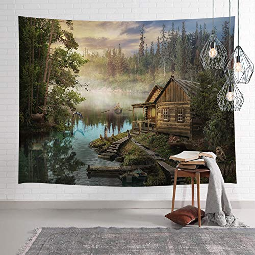 Natural Scenery Lake House Tapestry, Wooden Cabin with Pine Tree in Magic Forest Tapestry Wall Hanging, Wall Art for Bedroom Living Room Collage Dorm Home Decor Bedspread, 80