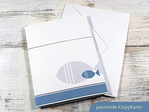 Set 8 x personalisierte Lichth/ülle f/ür Tischlicht grau blau zur Kommunion Taufe Konfirmation Firmung mit Fisch