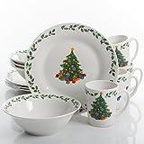 Gibson Home Joyous Gathering 12 Piece Dinnerware Set - Christmas Tree Dinnerware Set