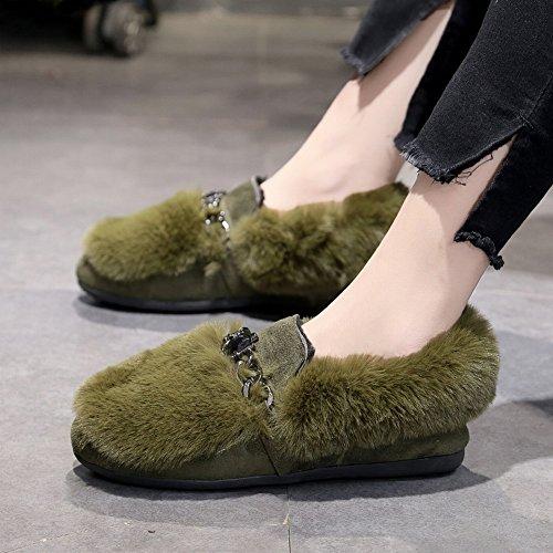 Los Zapatos de Los Guisantes Aplastaron Los Zapatos de la Punta de Algodón de Los Estudiantes de Los Zapatos de la Felpa Del Diamante Todos Los Zapatos Del Partido , verde , EUR34.5
