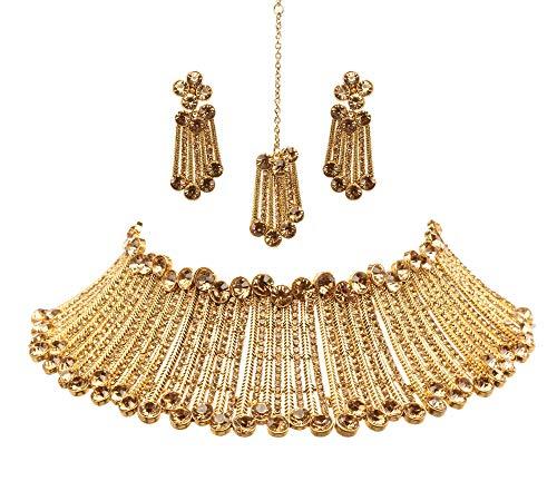 BindhaniBridal Bollywood Wedding Gold Plated Necklace Earrings Kundan Tikka Indian Jewelry Set for Women