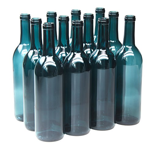 North Mountain Supply 750ml Glass Bordeaux Wine Bottle Flat-Bottomed Cork Finish - Case of 12 - Limited Edition Blue-Green ()