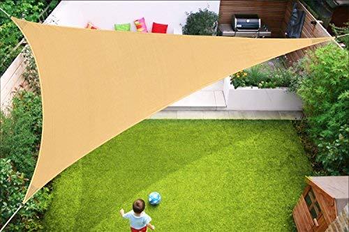 (Coconut Triangle Sun Sail Canopy 13 X 13 X 13 Ft Strengthen Outdoor Shade Cloth Patio Cover UV Block Sunshade Fabric Heavy Duty Awning Shelter for Backyard Garden, Sand-13 x)