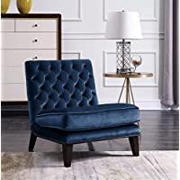 Iconic Home FAC2695-AN Achilles Neo Traditional Slipper Modern Tufted Velvet, Accent Chair, Navy