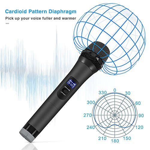 Large Product Image of Wireless Microphone,FIFINE Handheld Dynamic Microphone Wireless mic System for Karaoke Nights and House Parties to Have Fun Over the Mixer,PA System,Speakers.(K025)