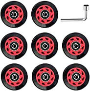 8 PCs Roller Skate Wheels - Wear Resistant Quad Roller Skate Wheels with Wrench & Bearings for Double Inli