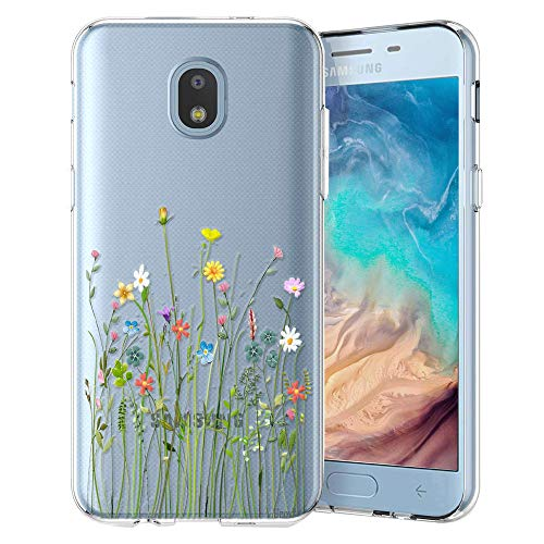 Unov Case Compatible with Galaxy J3 2018 Clear Design Slim Protective Soft TPU Bumper Embossed Pattern Cover Galaxy J3 Achieve J3 Star Express/Amp Prime 3 J3 V 3rd Gen (Flower Bouquet)