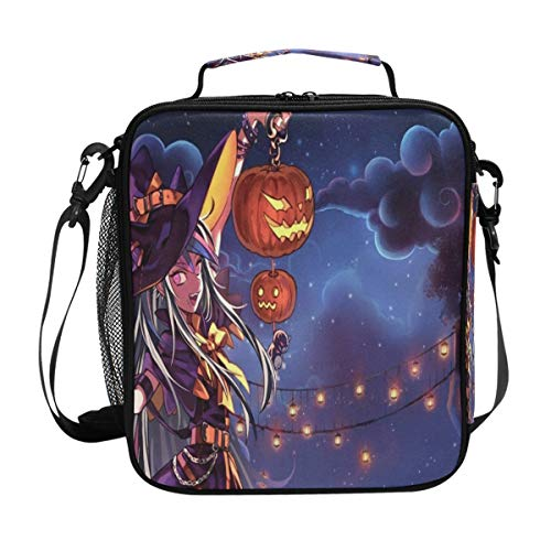 Personalized Halloween Anime Wallpaper Lunch Bag Womens Insulated Lunch Tote Containers Zipper Square Lunch Box for Kids Men Adults Boys Girls