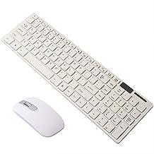 Donteng White 2.4G Slim Wireless Keyboard Cordless Optical Mouse Set Kit for Desktop Laptop