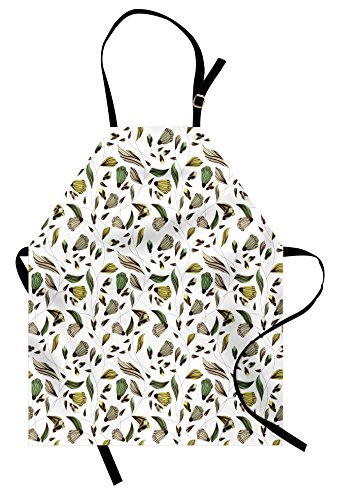 - Ambesonne Floral Apron, Earth Tones Bouquet Beauty Autumn Nature Flame of The Forest Petal, Unisex Kitchen Bib Apron with Adjustable Neck for Cooking Baking Gardening, Dark Brown Fern Green Yellow
