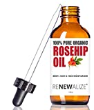 Facial Fillers Acne Scars - Organic Rosehip Seed Oil MOISTURIZER - in Large 4 OZ. Dark Glass Bottle with Dropper   Unrefined, Cold Pressed Oil   an Essential Anti Aging Skin Wrinkle Repair & Acne Scar Healing Serum Toner