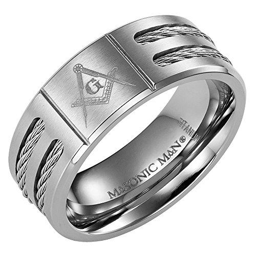 New Mens Titanium Ring - MasonicMan New Mens Titanium Masonic Ring Latin Engraving Inside