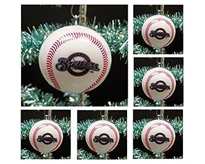 "MLB Major League Baseball Milwaukee Brewers Set of 6 Holiday Christmas Tree Ornaments Featuring Brewers Team Baseball Ornaments Ranging from 2"" to 2.5"" Tall"