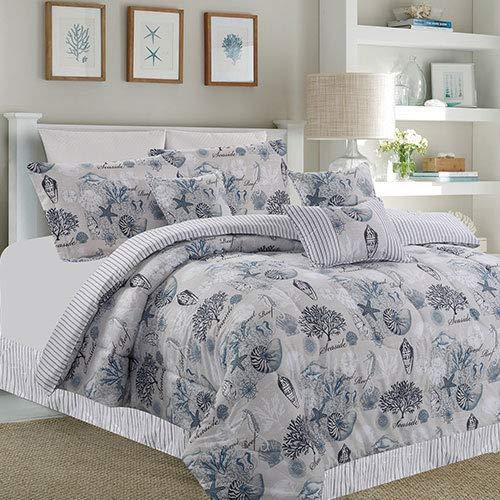 Island Living Gray, Blue & White Seashells, Nautical, Beach House Reversible Queen Comforter Set (7 Piece Bed in A Bag) + Homemade Wax Melts