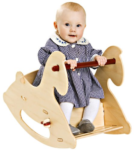 Childs Natural Wood Rocking Horse - HABA Moover Rocking Horse, Natural Wood