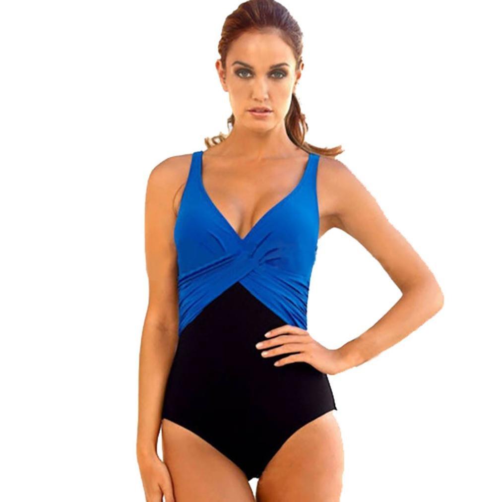 Traje de baño de mujeTraje de baño de mujer Conjunto de bikini talla grande Sujetador push-up acolchado traje de baño (XXXXL, Azul)