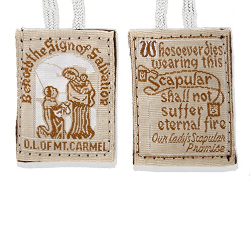 Our Lady of Mount Carmel Brown Scapular with White Cord