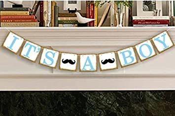 Amazon.com: It's a Boy Banner Baby Shower Banner Garland, Baby ...