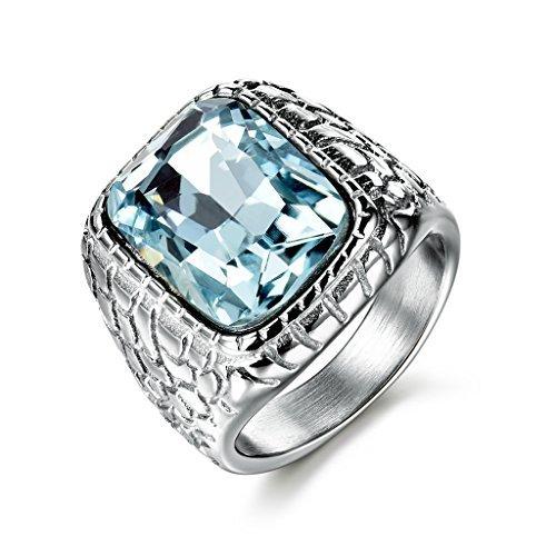 MASOP Retro Male Titanium Steel Ring Blue Synthetic Aquamarine Stone Party Wedding Bands Rings Size 11