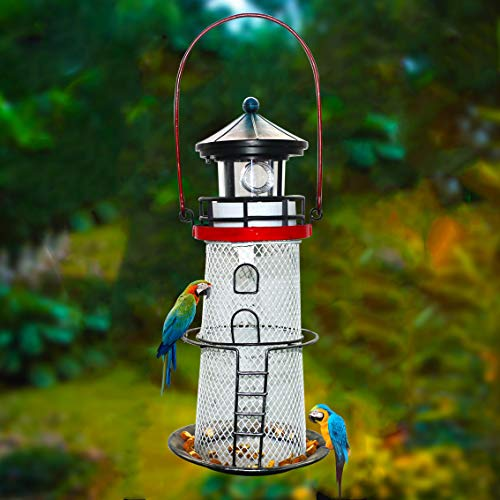 W-DIAN 2 in 1 Solar Lighthouse and Metal Bird Feeder Lamps Portable Lighthouse Garden Outdoor Decor for Pathway Yard Art Patio Path - Bird Lighthouse Metal Feeder