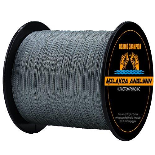 Milakoa Anglynn 100% PE 4 Strands Braided Fishing Line 500 M/547 Yd for Saltwater Freshwater 20lb 30lb 50lb 80lb 100lb Review