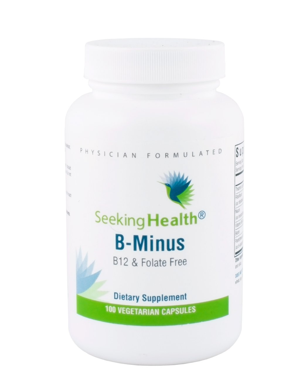 B-Minus | Provides Thiamin, Riboflavin, Niacin, Vitamin B6, Pantothenic Acid, Biotin | Free of B12 and Folate | Non-GMO | Physician Formulated | 100 Vegetarian Capsules |Seeking Health