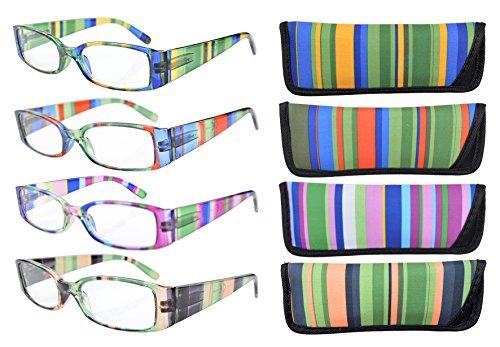Eyekepper 4-Pack Striped Temples Spring Hinge Reading Glasses +1.5 Stripe Reading Glasses