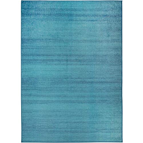 RUGGABLE Washable Stain Resistant Indoor/Outdoor, Kids, Pets, and Dog Friendly Area Rug 5'x7' Solid Textured Ocean Blue