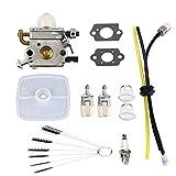 Podoy PB-200 Carburetor for ECHO Blower C1U-K78 Tune-Up Kit Air Filter with Cleaning Tool Primer Bulb Fuel Lines Kit PB200 PB201 ES210 ES211 A021000942 A021000943 Shredder