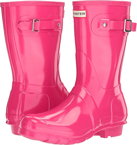 Hunter Women's Original Short Gloss Bright Pink Rain Boots - 11 B(M) US